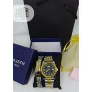 Men's Stainless Steel Watch & Bracelet Set- Silver & Gold | Watches for sale in Lagos State, Victoria Island