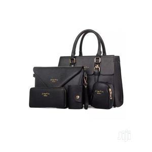Women Classic Unique Female 5 in 1 Handbag Set- Black/ Cream | Bags for sale in Lagos State, Ikorodu