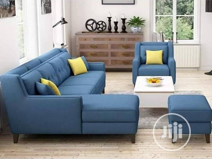 Blue L-Shaped Sofa Set