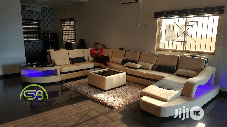 Cream U Shape Sofa With LED Lights