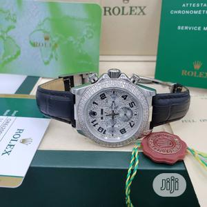 Rolex Oyster Perpetual (Daytona) Ice Head Silver Leather Strap Watch   Watches for sale in Lagos State, Lagos Island (Eko)