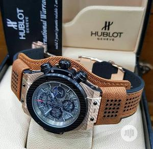 Hublot Chronograph Rose Gold/Silver Leather Strap Watch | Watches for sale in Lagos State, Lagos Island (Eko)