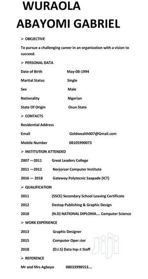 Computer Operator | Computing & IT CVs for sale in Osun State, Ilesa