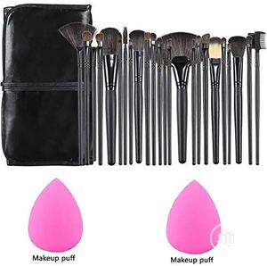 24pcs Make Up Brushes With Leather Storage Pouch   Makeup for sale in Lagos State, Ikeja