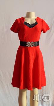 Red A-line Dress With Neckline Embellishment - Size 12   Clothing for sale in Abuja (FCT) State