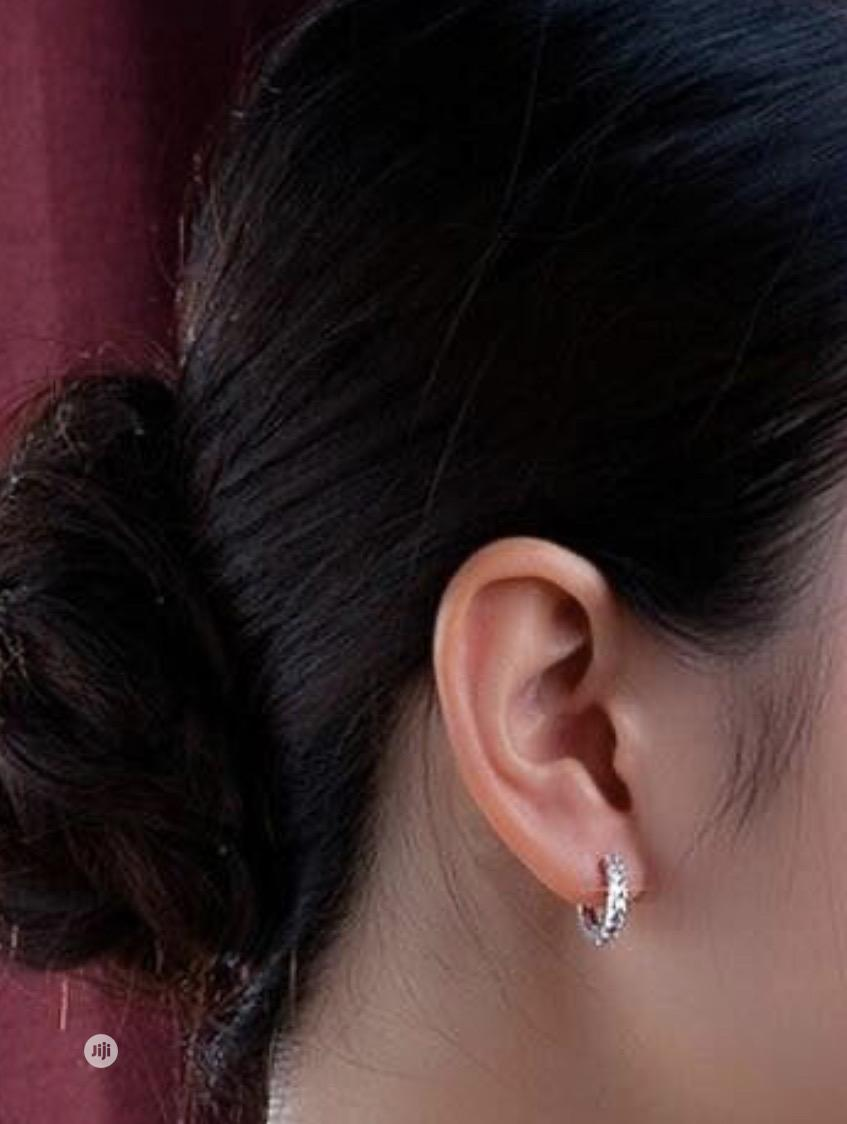 Sterling Silver Rhinestone Small Hoops | Jewelry for sale in Port-Harcourt, Rivers State, Nigeria