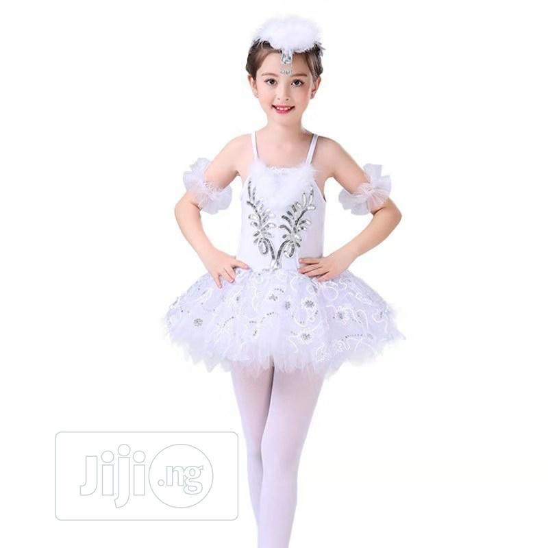 Fitted Ballet Dancing Dress White And Silver