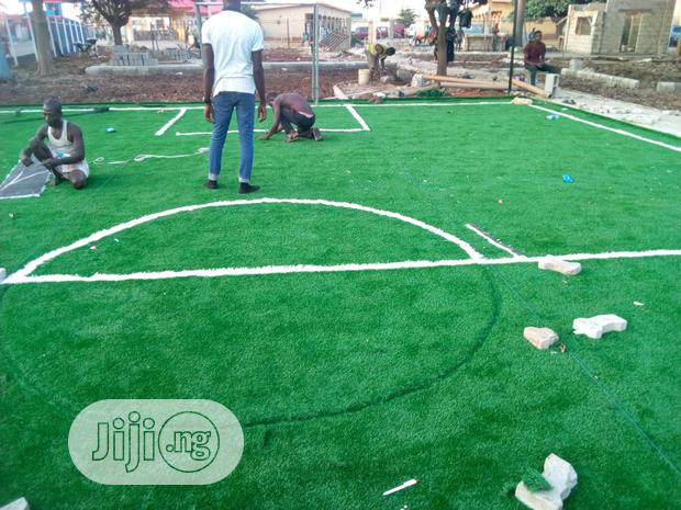 Installation Of Artificial Grass On Mini Football Pitch