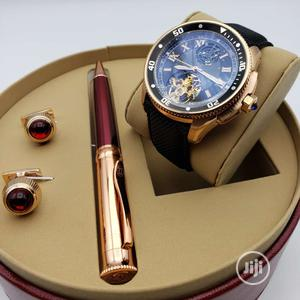 Cartier Automatic Rose Gold Leather Strap Watch/Pen and Cufflinks | Watches for sale in Lagos State, Lagos Island (Eko)