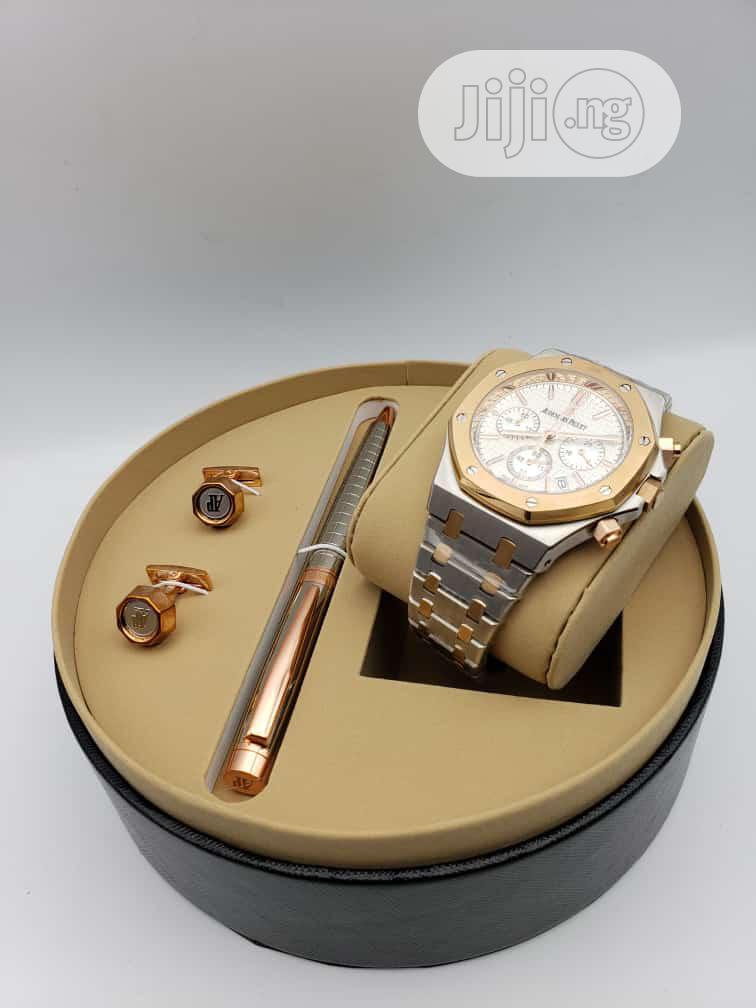 Audemars Piguet Chronograph Rose Gold/Silver Watch/Pen and Cufflinks