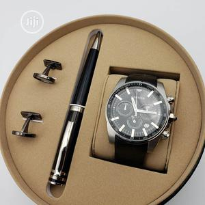 Cartier Chronograph Silver Leather Strap Watch/Pen and Cufflinks   Watches for sale in Lagos State, Lagos Island (Eko)
