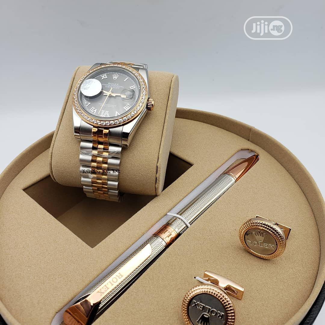 Rolex Oyster Perpetual Rose Gold/Silver Chain Watch/Pen and Cufflinks