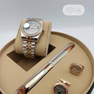Rolex Oyster Perpetual Rose Gold/Silver Chain Watch/Pen and Cufflinks | Watches for sale in Lagos State, Lagos Island (Eko)