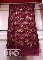 Wine Velvetine Lace Material | Clothing for sale in Lagos State, Ojo