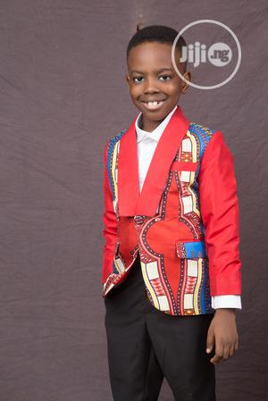 Boys Ankara Suit With Black Trousers and White Shirt | Children's Clothing for sale in Lagos State, Ojodu