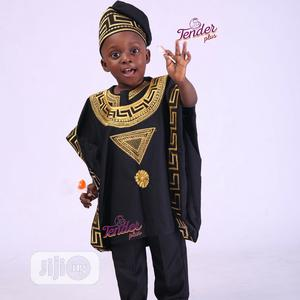 Boys Black Agbada With Gold Embroidery   Children's Clothing for sale in Lagos State, Ojodu