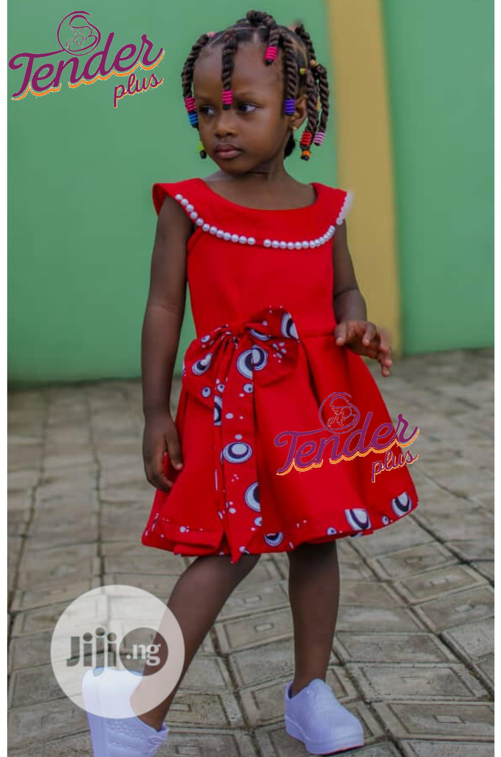Girls Red Dress With Ankara and Pearl Details
