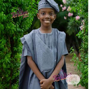 Boys Grey Agbada With Embroidery   Children's Clothing for sale in Lagos State, Ojodu