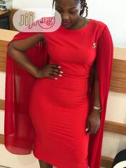 Red Dress With Chiffon Cape Like Sleeves . Brand :Turkey | Clothing for sale in Abuja (FCT) State, Central Business Dis