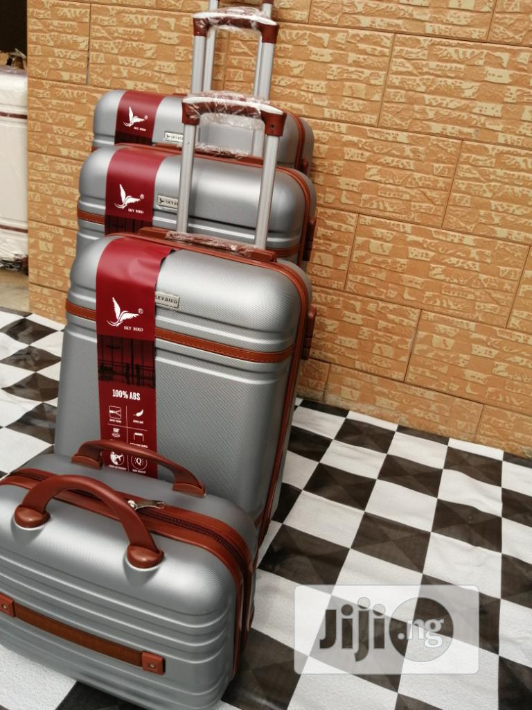 Cute Silver Color Trolley Travel Luggage Bags (4 Sets)