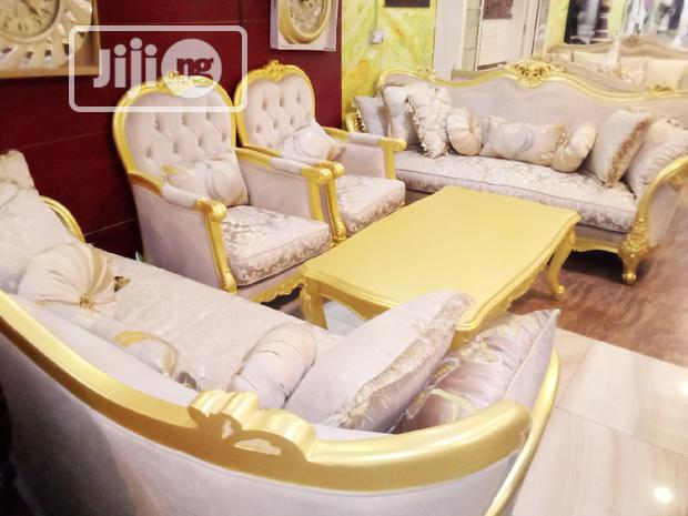 Luxury 7 Seater Royal Sofas with Centre Table (White and Gold)
