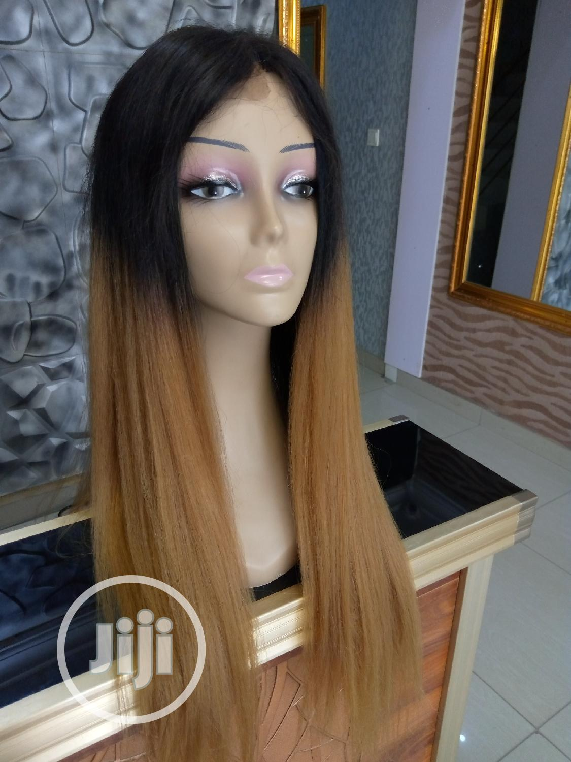 Two Toned Silky Human Hair Wig With Closure