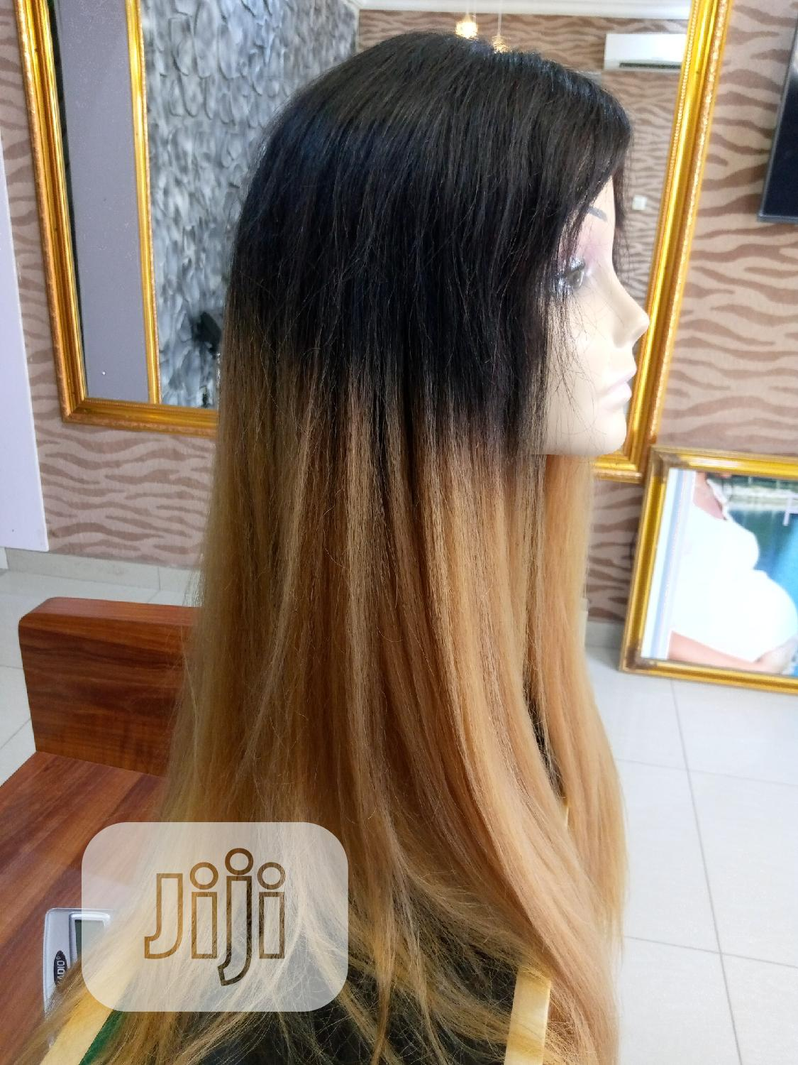 Two Toned Silky Human Hair Wig With Closure | Hair Beauty for sale in Ikeja, Lagos State, Nigeria