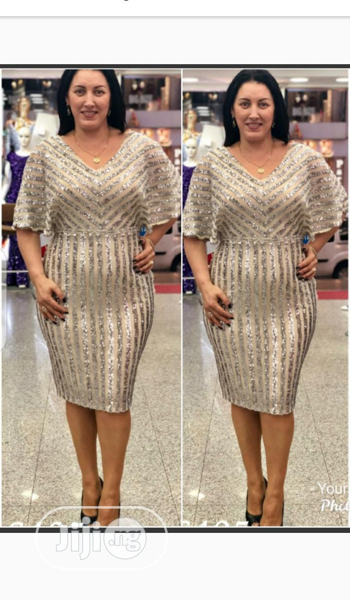 New Turkey Gold Female Vneck Dress | Clothing for sale in Lagos Island, Lagos State, Nigeria