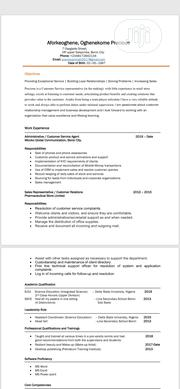 Teaching CV | Teaching CVs for sale in Abuja (FCT) State, Asokoro