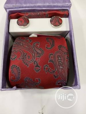Set Of Red Flowered Vintage Designers Tie With Cufflinks   Clothing Accessories for sale in Lagos State, Victoria Island