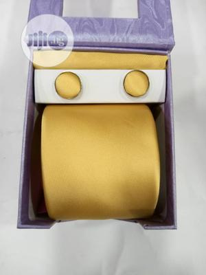 Set Of Yellow Designers Tie With Cufflinks   Clothing Accessories for sale in Lagos State, Victoria Island