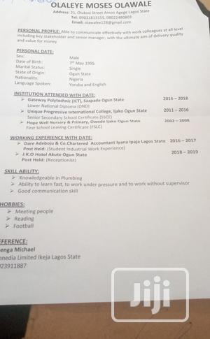 Travel Tourism CV   Travel & Tourism CVs for sale in Lagos State, Agege