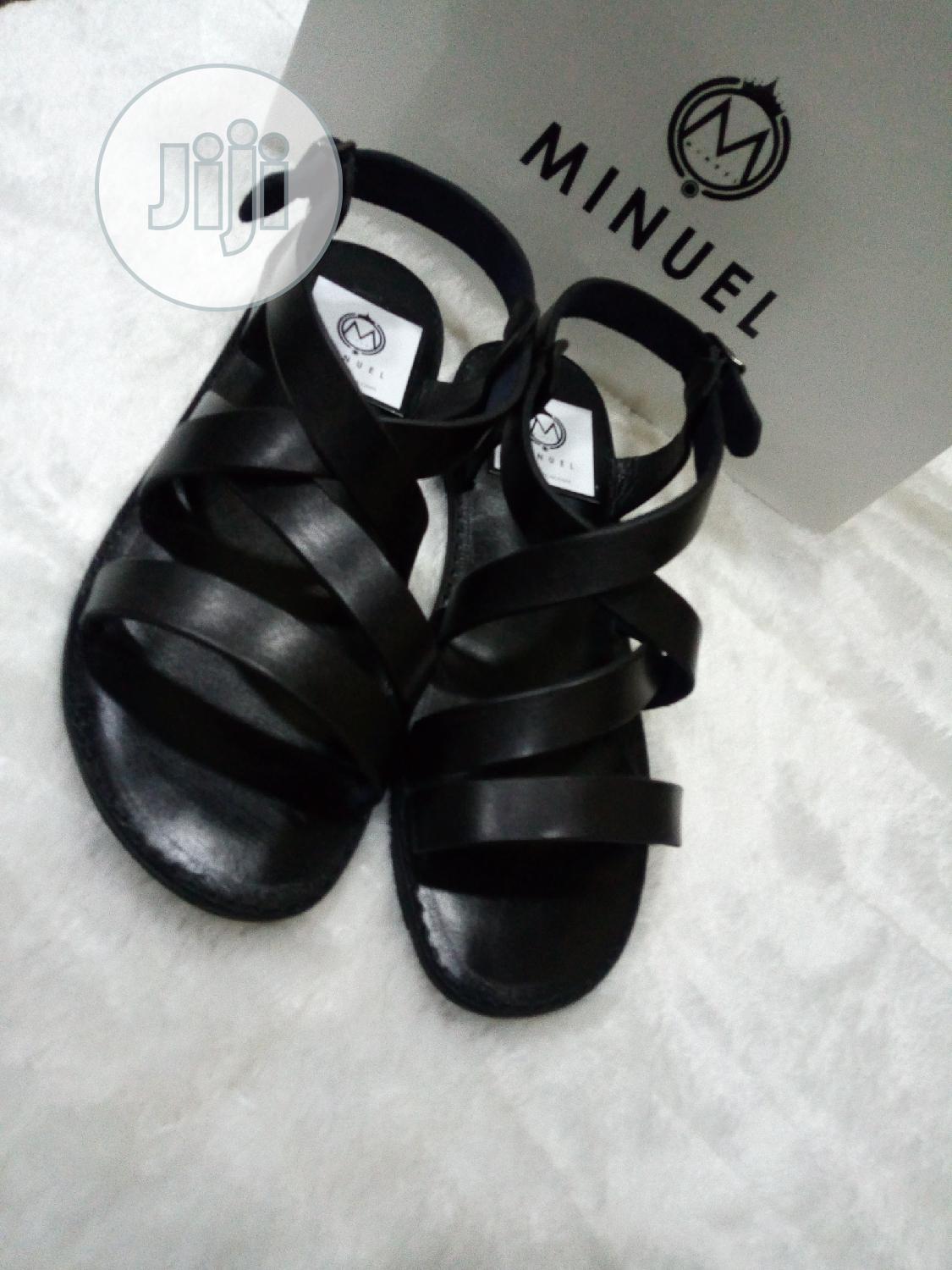 Black Leather Sandals | Shoes for sale in Mushin, Lagos State, Nigeria