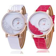 Hot Relogio 2 IN 1 Women's Rhinestone Wrist Watch - White & Pink | Watches for sale in Lagos State