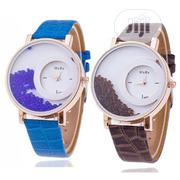 Hot Relogio Women's Rhinestone Wrist Watch - Blue & Brown | Watches for sale in Lagos State