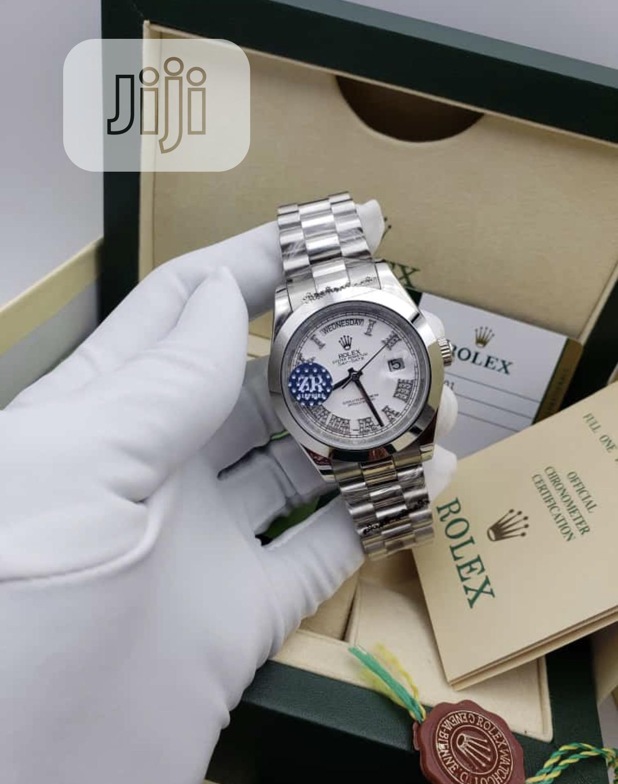 Silver Chain Rolex Daydate,White Dail With Roman Figure