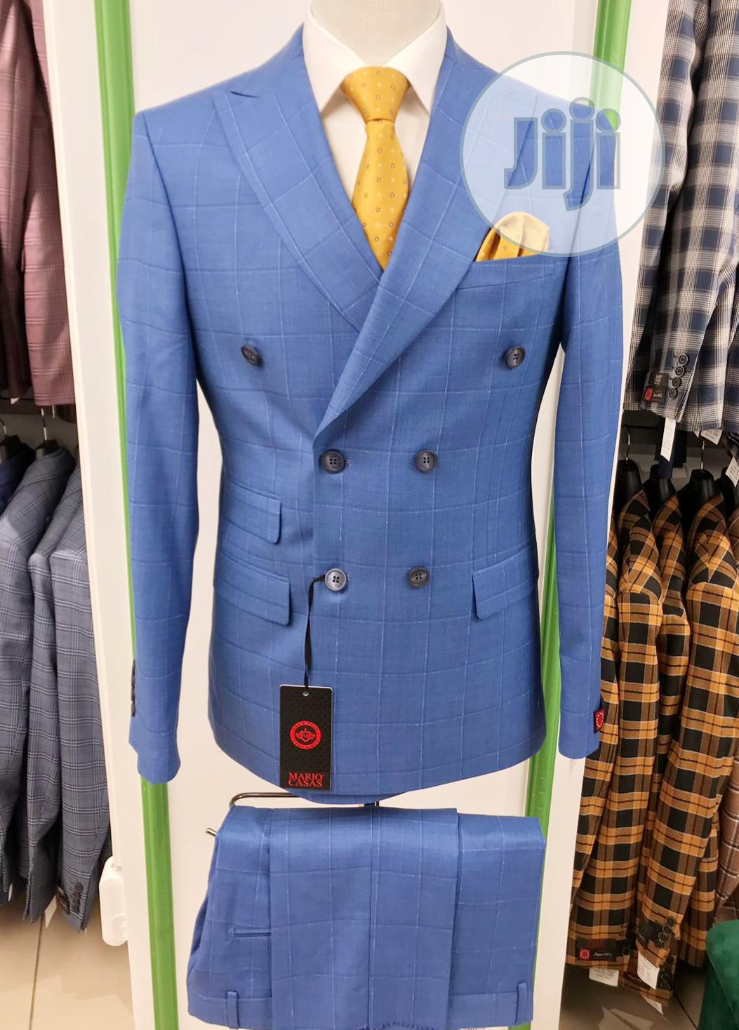 Archive: Turkish Brands Double Breasted Skyblue Check Suits by MC