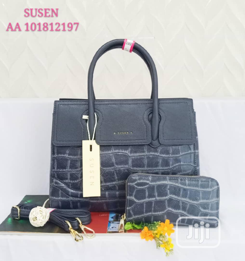 Femlae Quality Blue Leather Shoulder Handbag