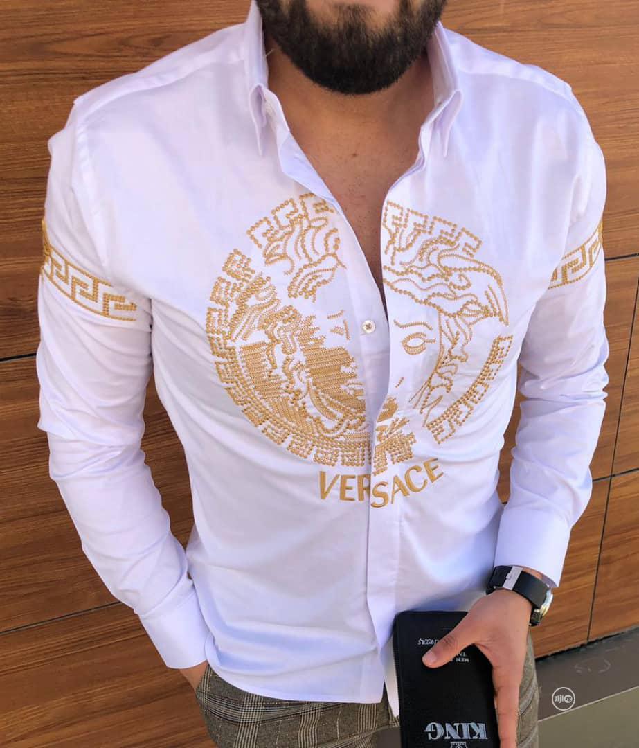New Quality Men Versace White Collar Shirt