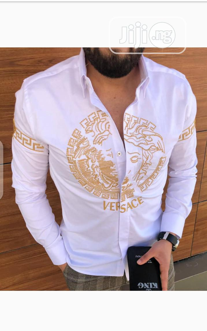 New Quality Men Versace White Collar Shirt | Clothing for sale in Lagos Island, Lagos State, Nigeria