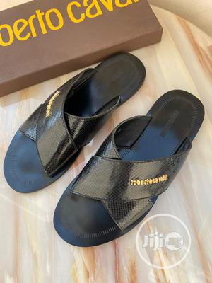 Black Leather Roberto Cavalli Palm Slipper for Men   Shoes for sale in Lagos State