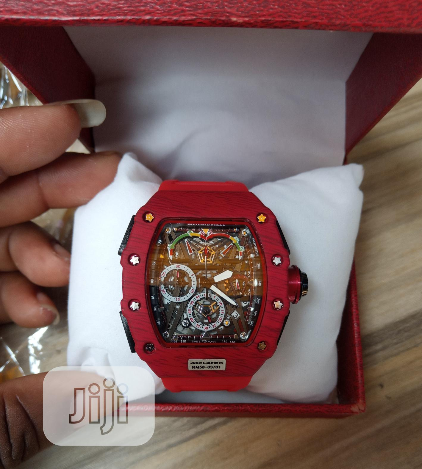 Richard Mille Men's Red Rubber Wristwatch | Watches for sale in Surulere, Lagos State, Nigeria