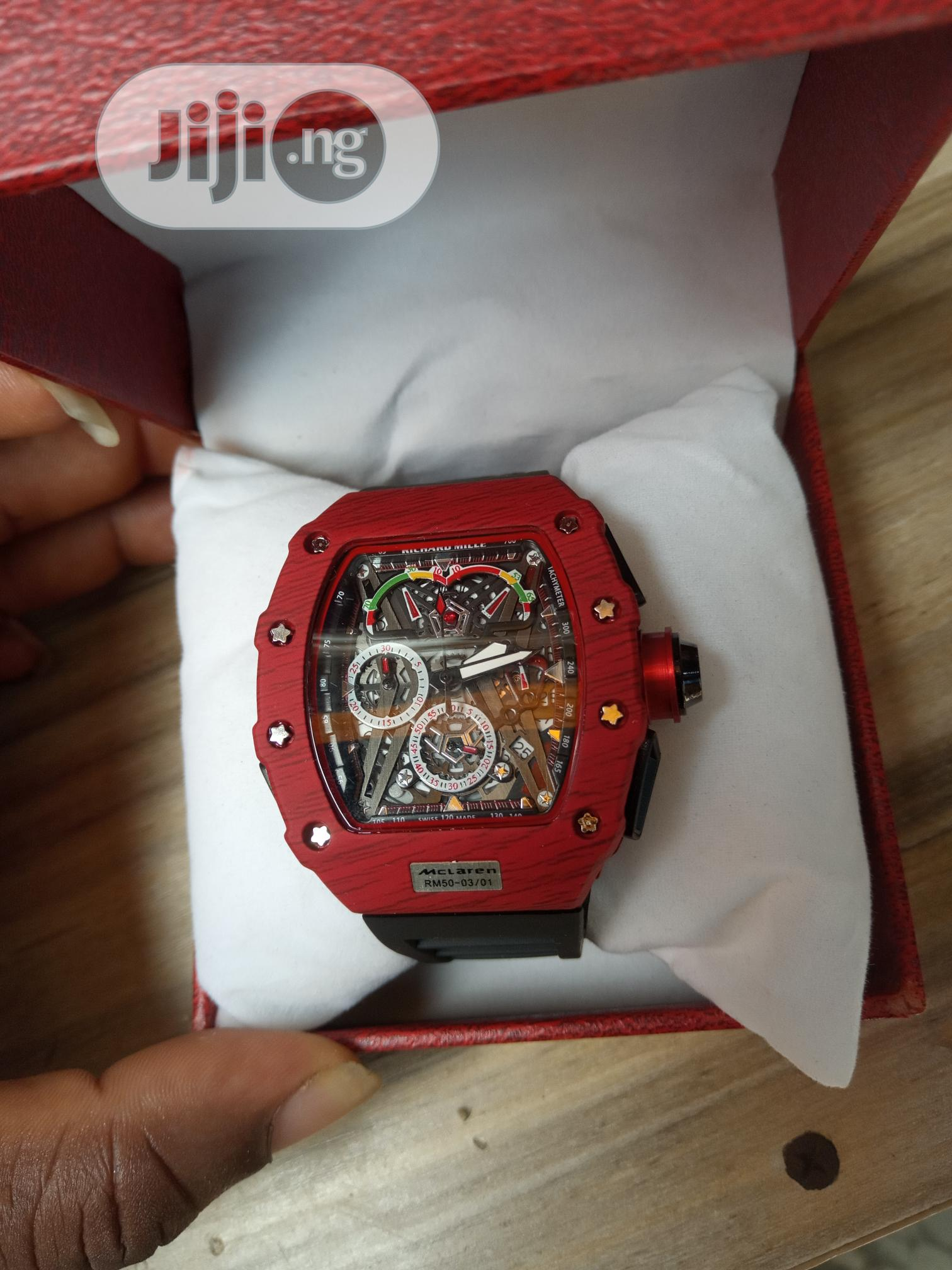 Richard Mille Men's Black Rubber Wristwatch | Watches for sale in Surulere, Lagos State, Nigeria