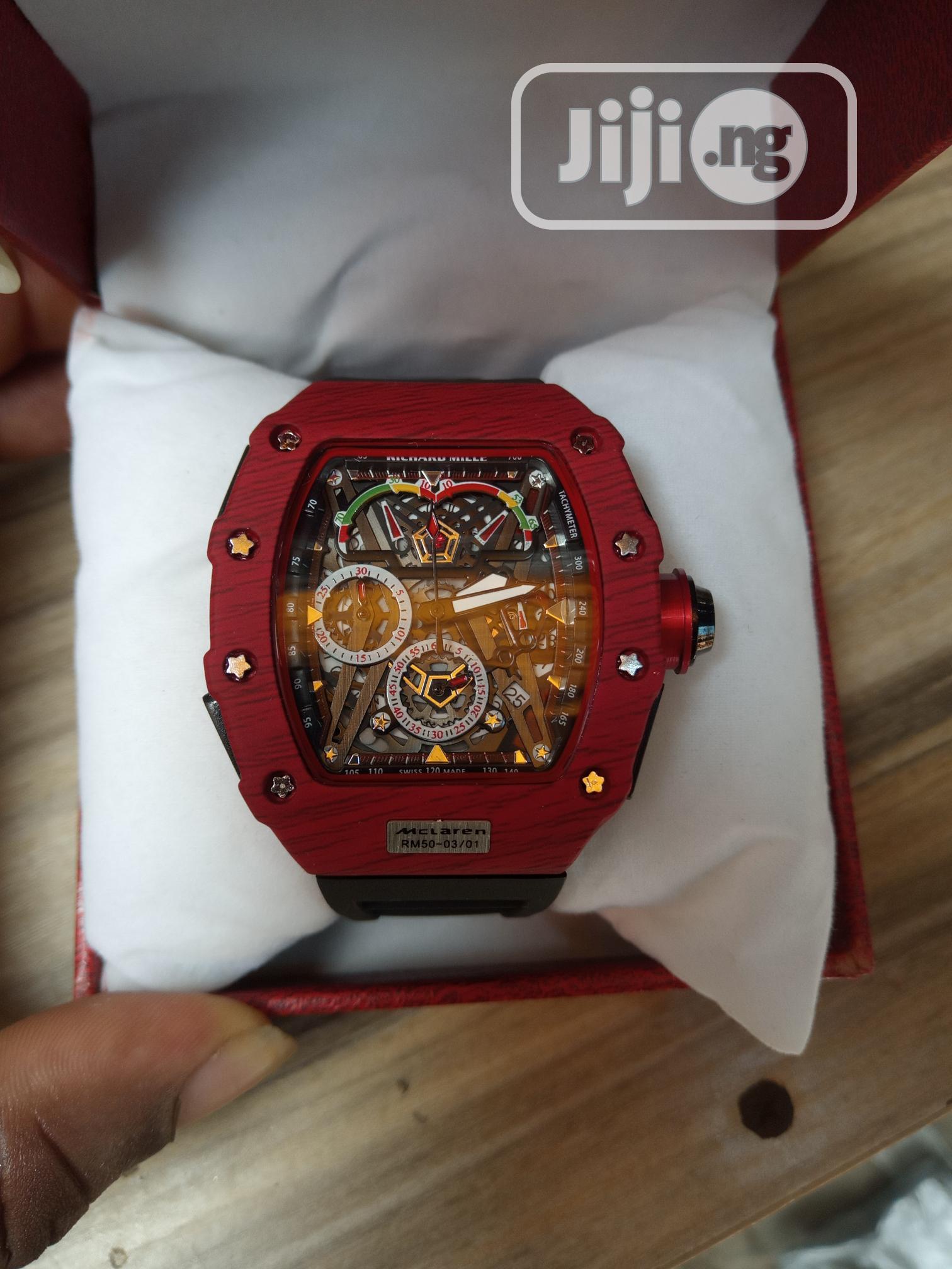 Richard Mille Men's Black Rubber Wristwatch