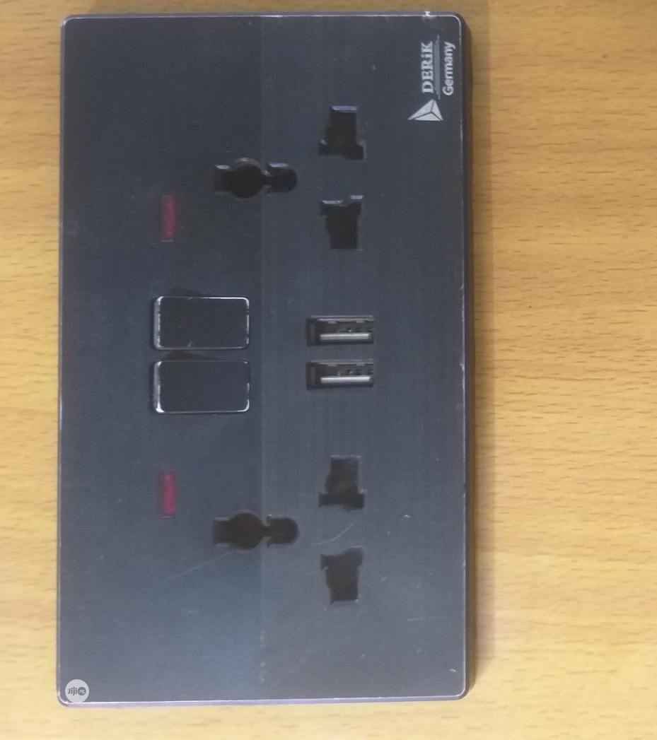13amps Black Double Socket | Electrical Hand Tools for sale in Lagos Island (Eko), Lagos State, Nigeria