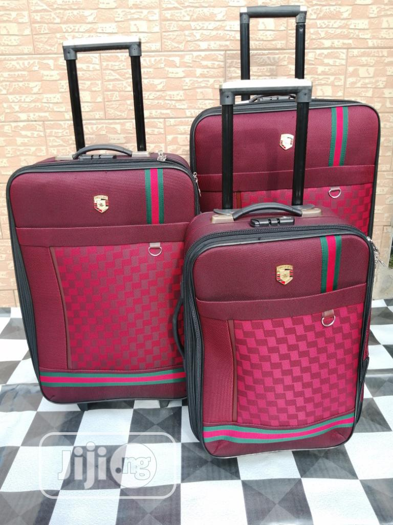 Red Colored Gucci Trolley Travel Bags (3 Sets)