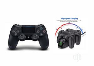 Ps4 Pad Wireless Controller V2 - Black + Fast Charger | Accessories & Supplies for Electronics for sale in Lagos State, Ikeja