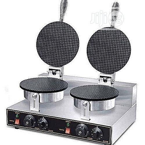 Commercial Ice Cream Cone Machine Electric Waffle Maker Dual Baker