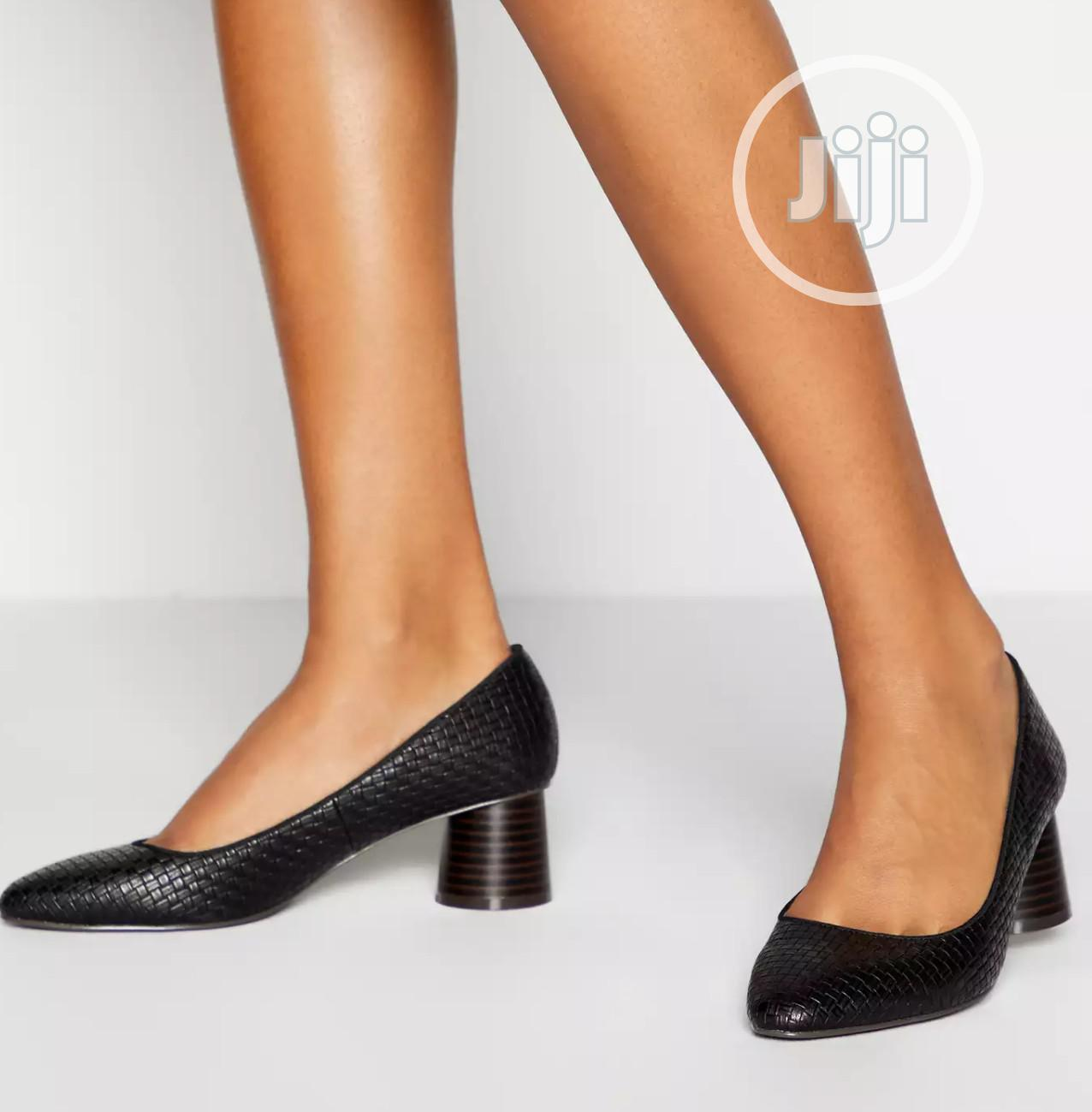 Black Woven Low Block Heel Court Shoe | Shoes for sale in Surulere, Lagos State, Nigeria