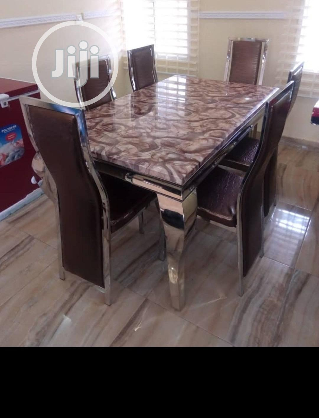 Durable Imported Marble Dining Table With Six Chairs